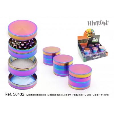HIBRON, Grinder molinillo metalico colores neon 58432, 1x4