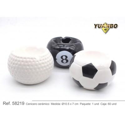 cenicero de cerámica bolas deportivas 10,5cm x 7cm