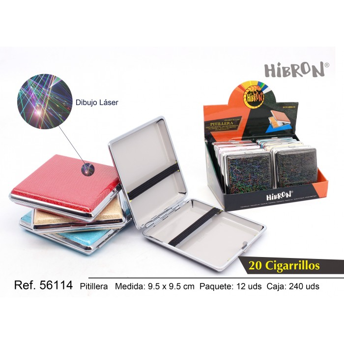 HIBRON, Estuche/Pitillera metalico para tabaco 20 cigarrillos, 56114,1x12