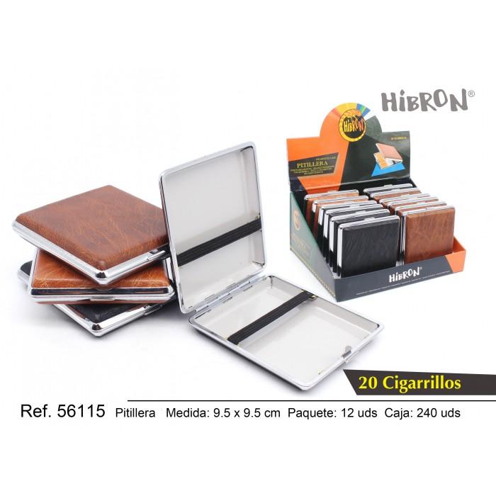 HIBRON, Estuche/Pitillera metalico para tabaco 20 cigarrillos, 56115,1x12