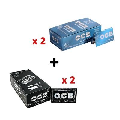 OCB 100 LIBRITOS CORTOS (2 OCB X-PERT AZUL DOBLE VENTANA Nº4 + 2 OCB PREMIUM NEGRO DOBLE VENTANA Nº4)