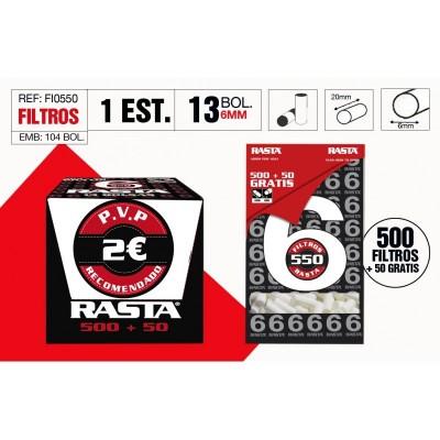 RASTA FILTRO SLIM 6mm,BOLSA DE 550 FILTROS