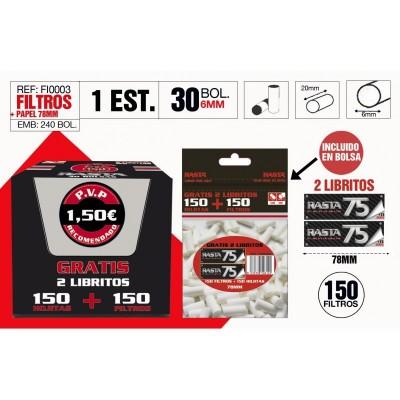 RASTA FILTRO SLIM 6mm+ROJO 78mm,BOLSA DE 75 FILTROS+LIBRITO DE 75 HOJAS