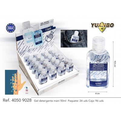 Gel hidroalcohólico desinfectante higienizante  de manos - 50 ml x 24 uds