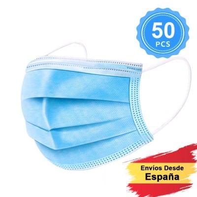 50 Unidades Mascarillas de Protección Desechable de 3 Capas con Meltblown (no-tejido de polipropileno)