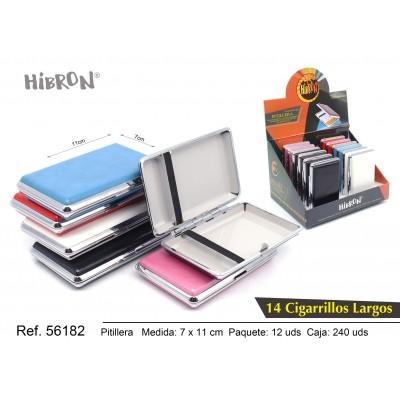 HIBRON, Estuche/Pitillera metalico para tabaco 14 cigarrillos largo, 56182,1x12