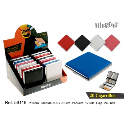 HIBRON, Estuche/Pitillera metalico para tabaco 20 cigarrillos, 56116,1x12