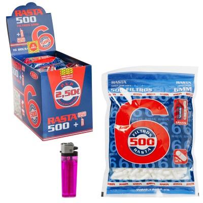 RASTA FILTRO SLIM 6mm BOLSA DE 500 FILTROS+1 UND MECHERO FI0500 16Pcs