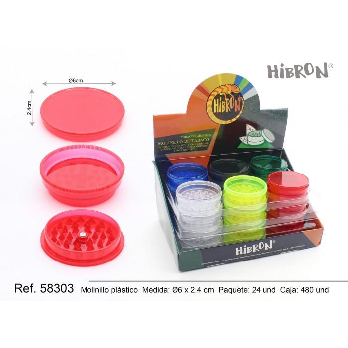Plastico molinillo para fumar 3F 208 LISO 1x24Pcs