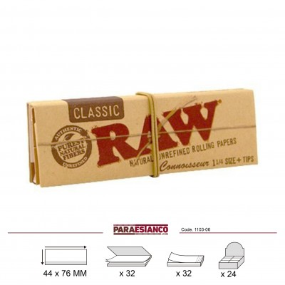 RAW CONNOISSEUR CLASSIC 1¼+TIPS, LIBRITO DE 32 HOJAS+32 FILTROS