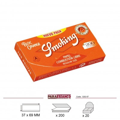 SMOKING ORANGE BLOC 200, BLOC DE 200 HOJAS