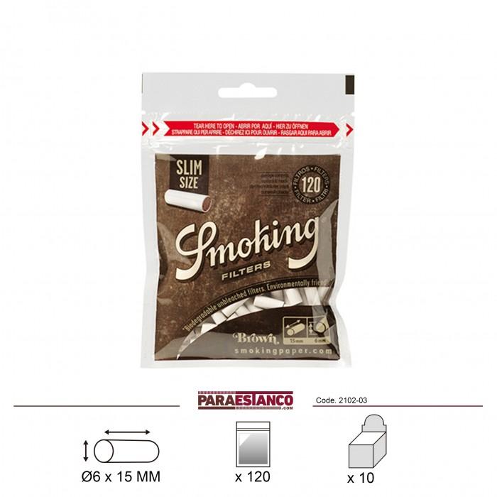 SMOKING FILTROS BROWN SLIM 6mm, BOLSA DE 120 FILTROS