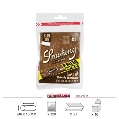 SMOKING FILTROS BROWN SLIM 6mm+BROWN N? 8, BOLSA DE 120 FILTROS+LIBRITO DE 60 HOJAS