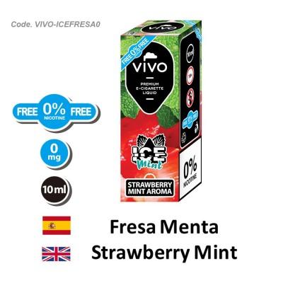 E-Liquido VIVO ICE fresa menta sin nicotina (10ML)