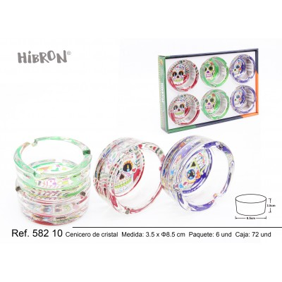 HIBRON,Cenicero de cristal calaveras mexicanas,58210,1x6