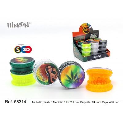 Ref: 58314 Plastico molinillo para fumar 3F 053-3