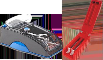 dos entubadoras para rellenar tubos de tabaco de difrente forma y color