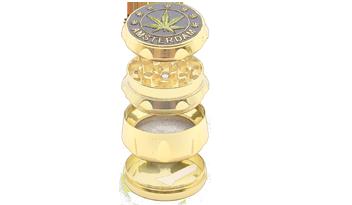4 piezas superpuestas que forman el grinder o molinillo para tabaco